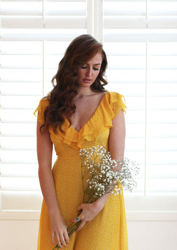 Janis Yellow Spot Dress
