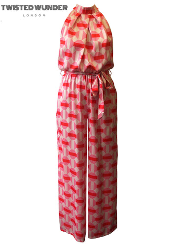 The Joni Jumpsuit In Pink and Red Geo