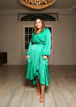 Mila Wrap Front Satin Midi Dress in Jade