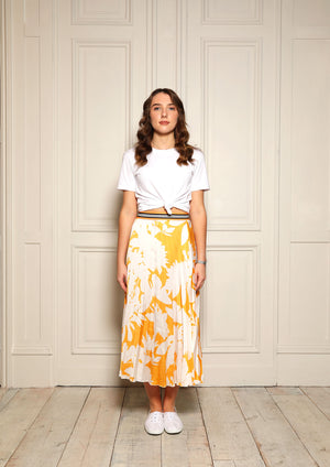 Melody Yellow Floral Pleat Skirt
