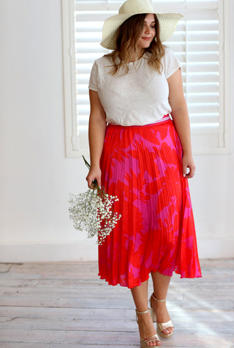 Melody Red and Pink Floral Pleat Skirt