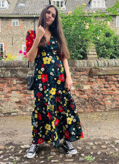 The Lily Red and Black Floral Dress