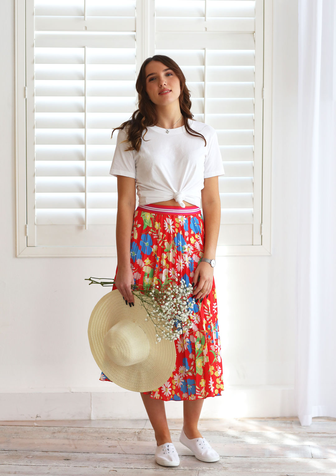 Melody Red Floral Pleat Skirt
