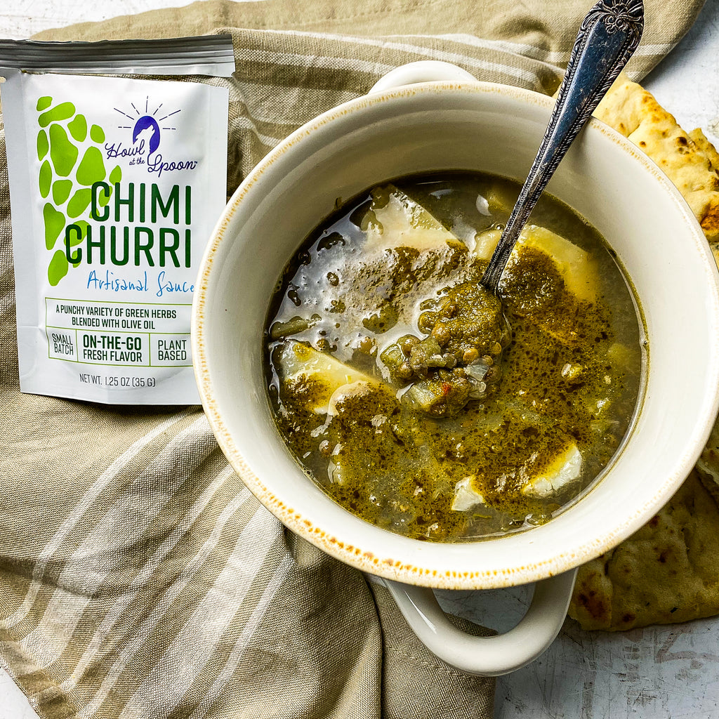 Lentil and Potato Soup with Chimichurri