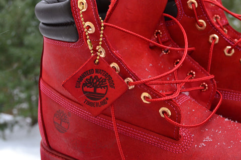 Blood Red Body & Sole Hand Painted Timberland 6-Inch Premium Waterproof Boots