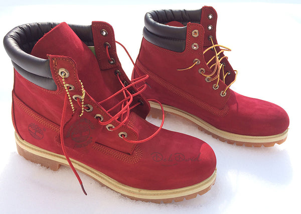 Brick Red Hand Painted Timberland 6-Inch Premium Waterproof Boots