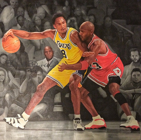 Jordan vs The World Series: Jordan vs Kobe Painting