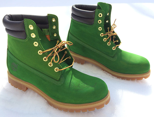 Kelly Green Hand Painted Timberland 6-Inch Premium Waterproof Boots