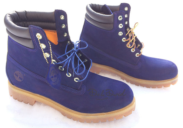 Midnight Blue Hand Painted Timberland 6-Inch Premium Waterproof Boots