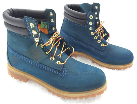 Military Blue Hand Painted Timberland 6-Inch Premium Waterproof Boots