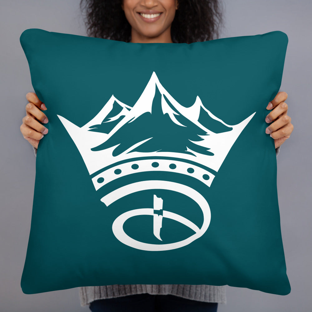 Creative Crown Premium Pillow | Teal Blue & White Colorway