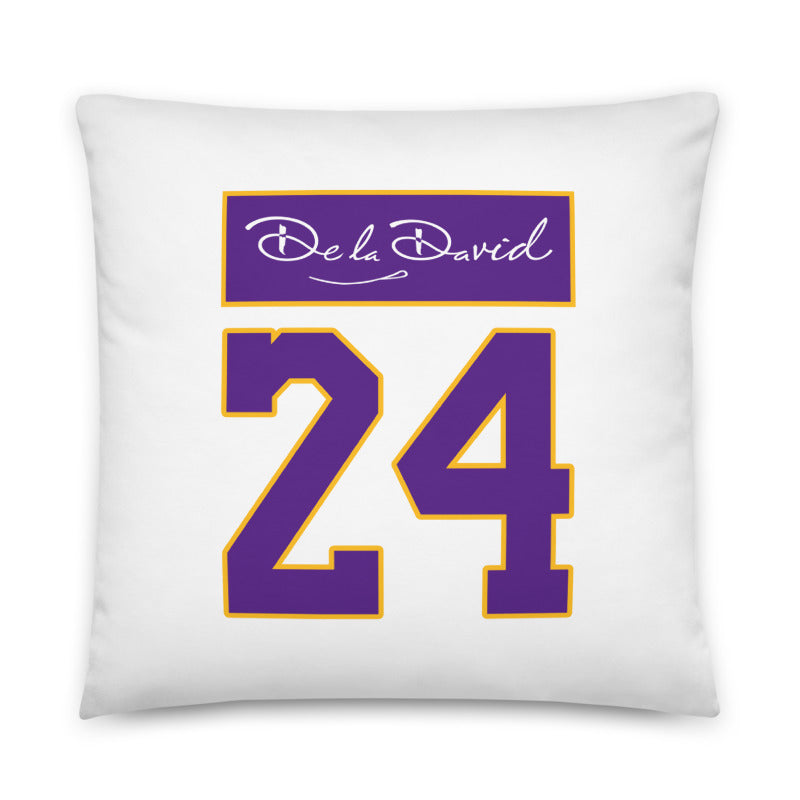 GOAT 8/24 Throw Pillow | Purple & Gold Colorway