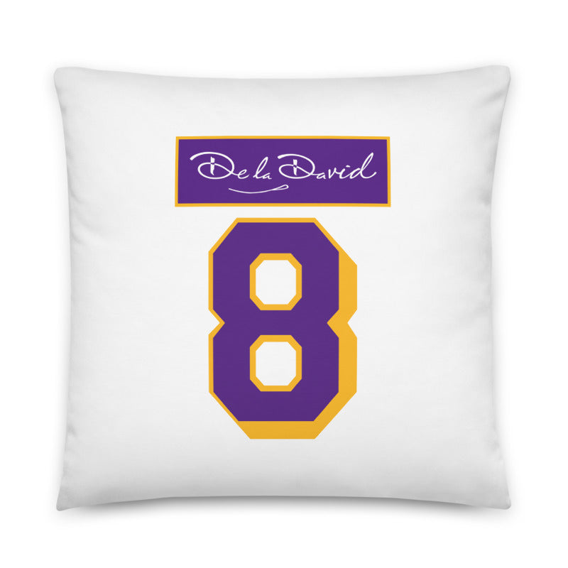 GOAT #8 Throw Pillow | Purple & Gold Colorway