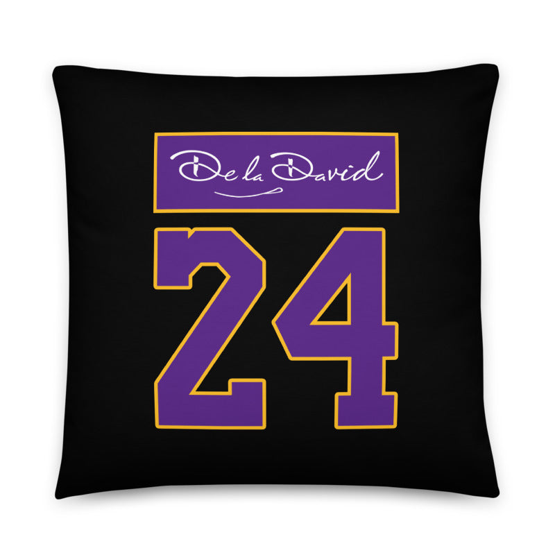 GOAT #24 Throw Pillow | Purple & Gold Colorway