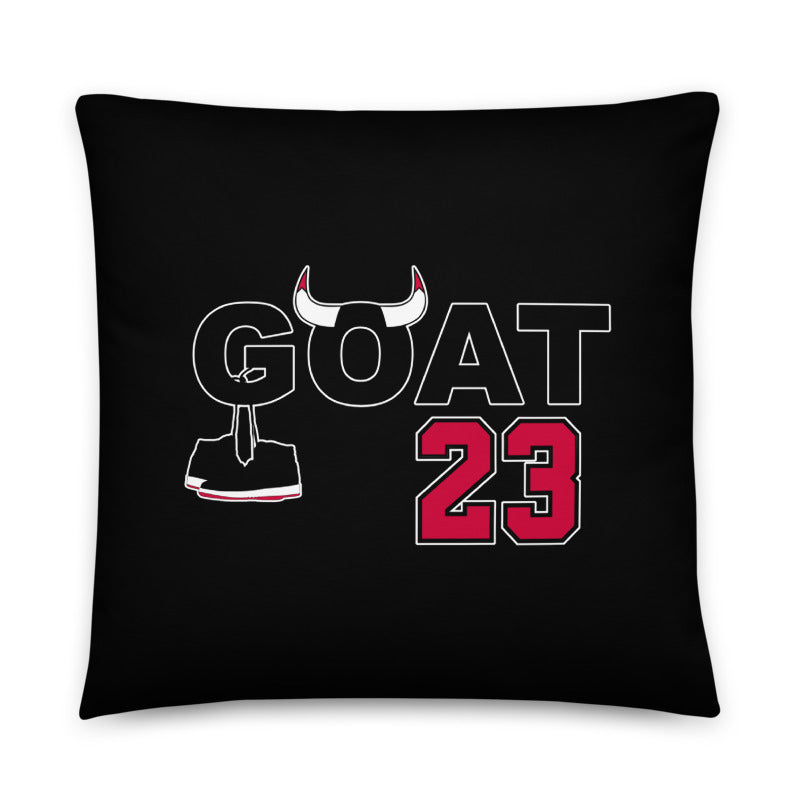 GOAT #23 Throw Pillow | Black Colorway