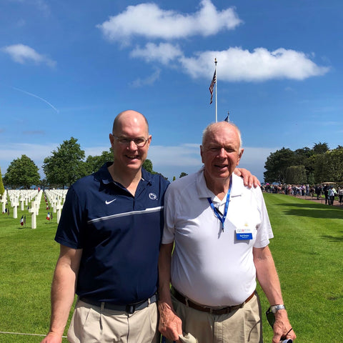 Father and son at the American Cemetery, Normandy