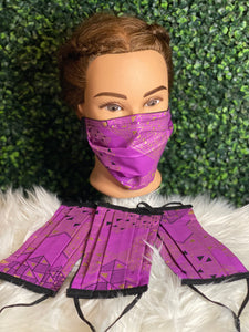 Purple African Print Adjustable Mask
