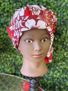 Red Tropical Bouffant Hat
