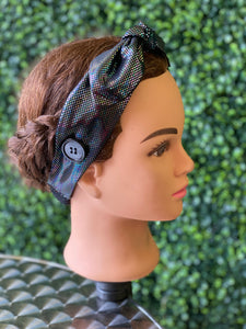 Black Holographic Bow Head Band