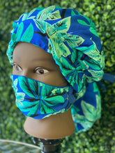 Load image into Gallery viewer, Blue Tropical Island Bouffant Hat