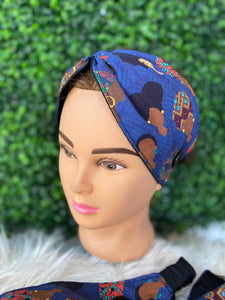 Blue African Queen Twist Headband