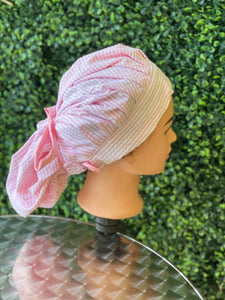 White Stripes Bouffant Hat