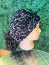 Load image into Gallery viewer, Dark Brown Leopard Bouffant Hat