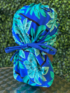 Blue Tropical Island Bouffant Hat