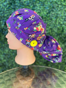 Purple Skeleton Halloween Bouffant Hat