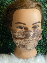 Load image into Gallery viewer, Rose Gold Sequin Adjustable Mask