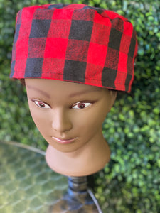 Red Black Plaid Surgical Cap