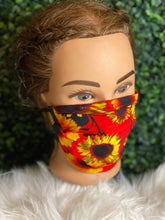 Load image into Gallery viewer, Red Sunflower Adjustable Face Mask