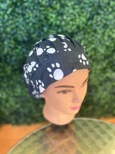 Black Paw Print Bouffant Hat