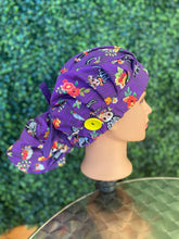 Load image into Gallery viewer, Purple Skeleton Halloween Bouffant Hat