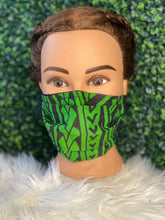Load image into Gallery viewer, Green Polynesian Print Mask