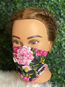 Black Pink Roses Face Mask