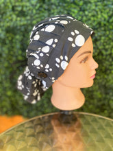 Load image into Gallery viewer, Black Paw Print Bouffant Hat