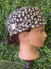 Load image into Gallery viewer, Black Animal Print Surgical Cap