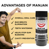 Manjan Charcoal Teeth Powder, Face Pack & Scrub Combo For Women & Men - Skin Organ