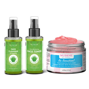 Cleanser Toner Moisturiser With Rose & Vitamin E ComboFor Women & Men Also Suitable For Sensitive Skin - Skin Organ