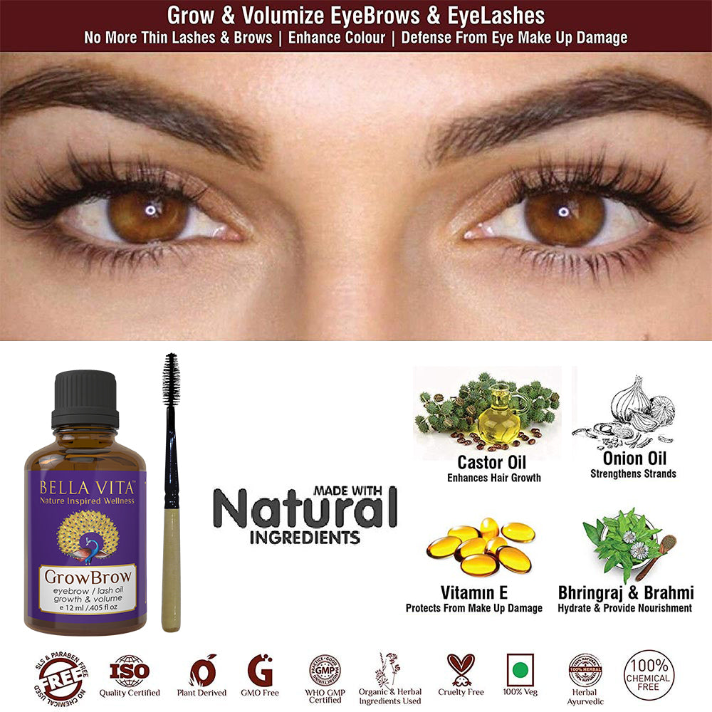 GrowBrow | Eye Brows | EyeLash Hair Growth & Volume Oil with Castor, Onion Oil & Vitamin E (12 ml)