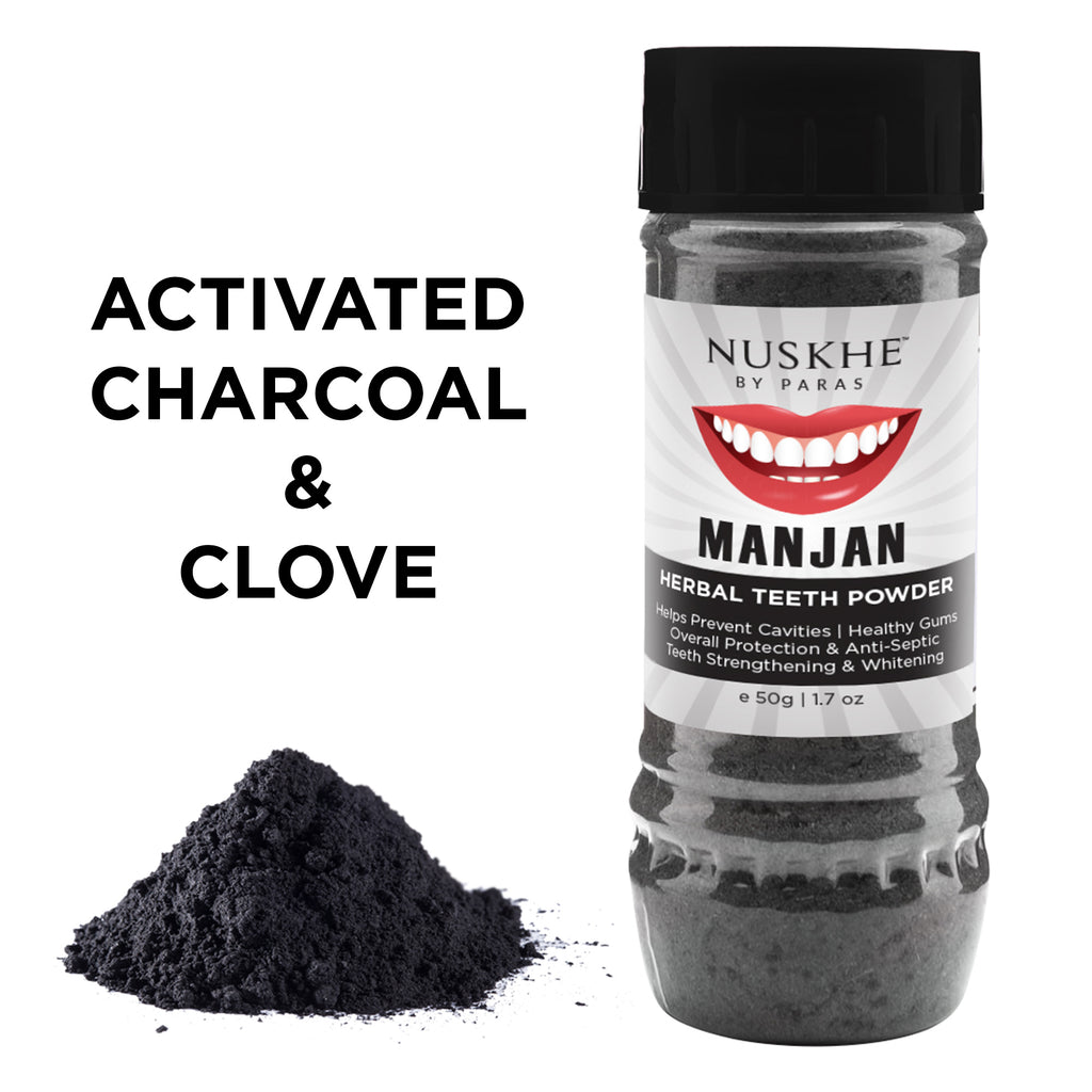 Manjan Charcoal Teeth Powder, Face Mask Pack & Anti-Acne Face Cream Combo For Women & Men - Skin Organ