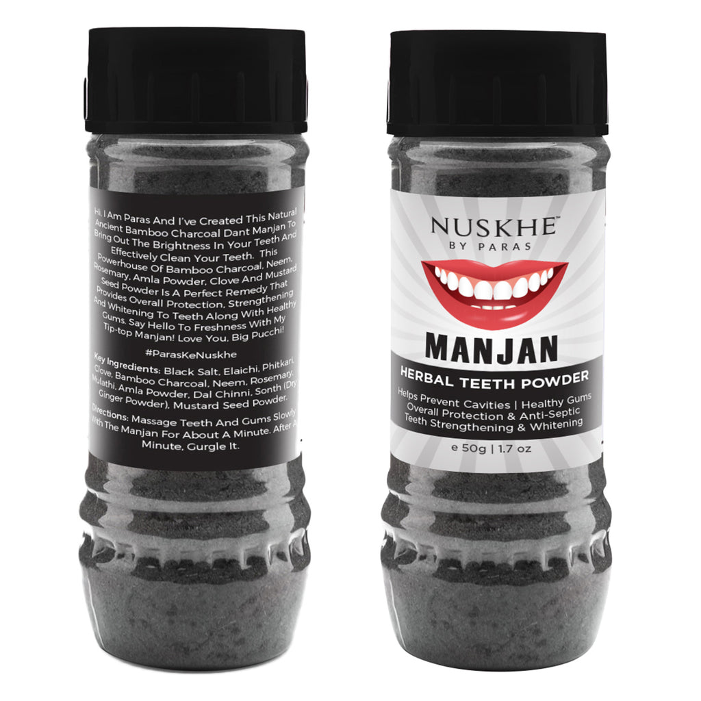 Manjan Charcoal Teeth Powder& Charcoal Face Mask Pack Combo For Women & Men - Skin Organ