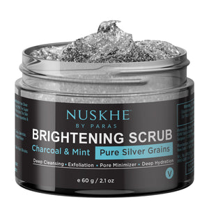 Charcoal Silver Brightening Face Scrub for Deep  Cleansing, 60g - Skin Organ
