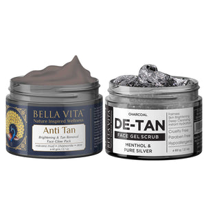 Face Scrub & Pack Combo For De Tan Removal, Whitening & Lightening With Charcoal, Menthol & Pure Silver Grains For Women & Men, 60g each