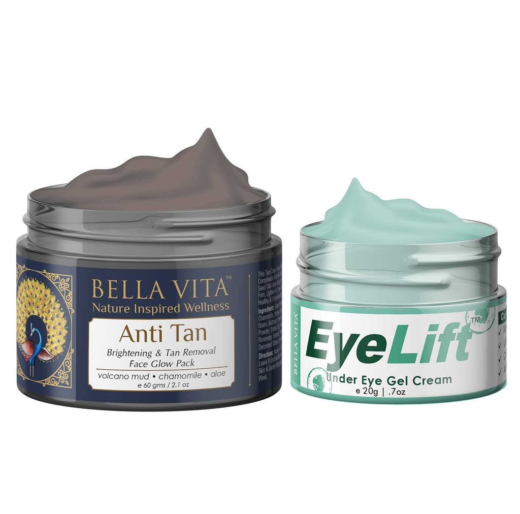 EyeLift Cream For Dark Circles Treatment With Tan Removal Face Pack For Skin Lightening and Glow, Combo