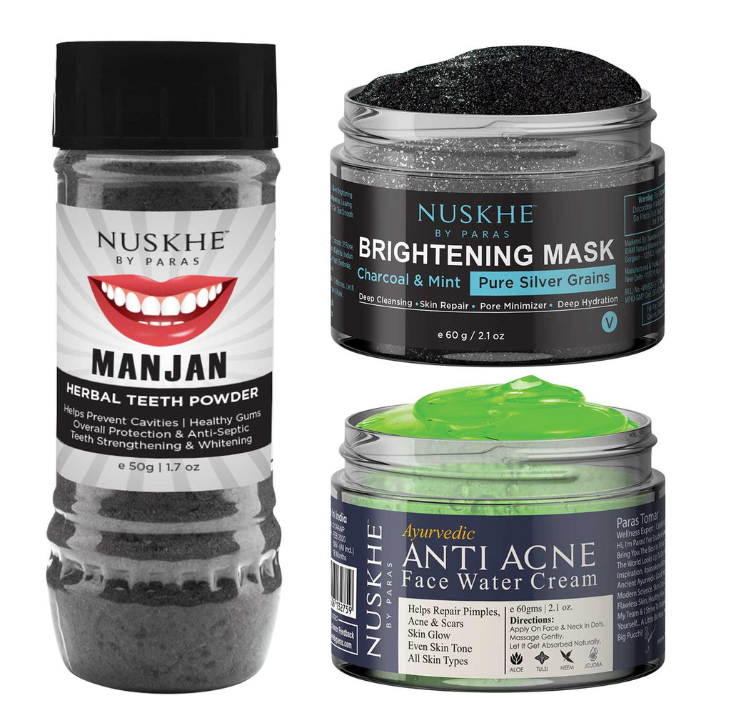 Manjan Charcoal Teeth Powder, Face Mask Pack & Anti-Acne Face Cream Combo For Women & Men