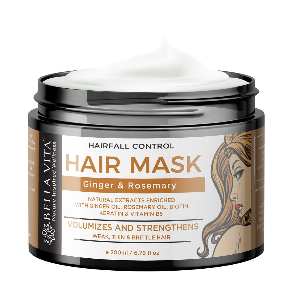 Hair Growth & Fall Control Keratin Mask With Ginger, Rosemary, Eucalyptus & Argan Oil, 200ml - Skin Organ