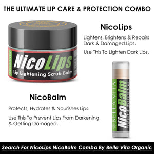 NicoLips Lip Scrub & NicoBalm Lip Balm Combo For Dry, Chapped & Dark Lips Remover Treatment, 20g 5g - Skin Organ