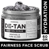 Face Scrub & Pack Combo For De Tan Removal, Whitening & Fairness With Charcoal, Menthol & Pure Silver Grains For Women & Men, 60g each - Skin Organ